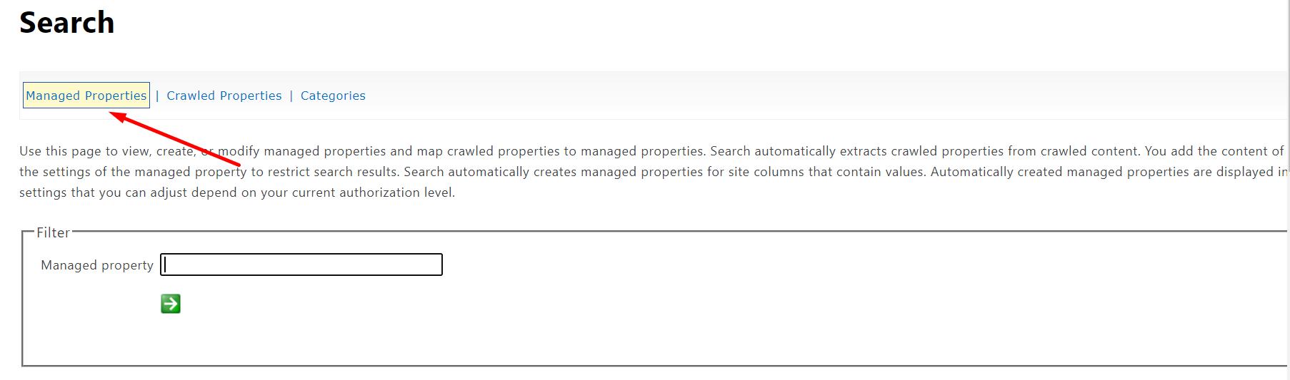 Managed Properties tab