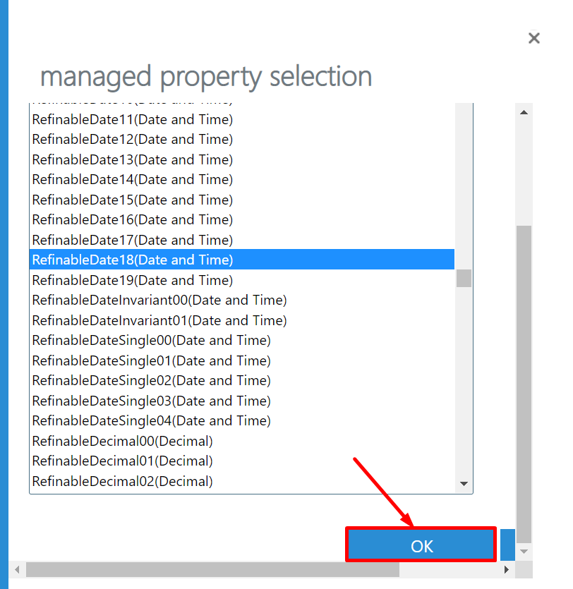 Managed Property Selection