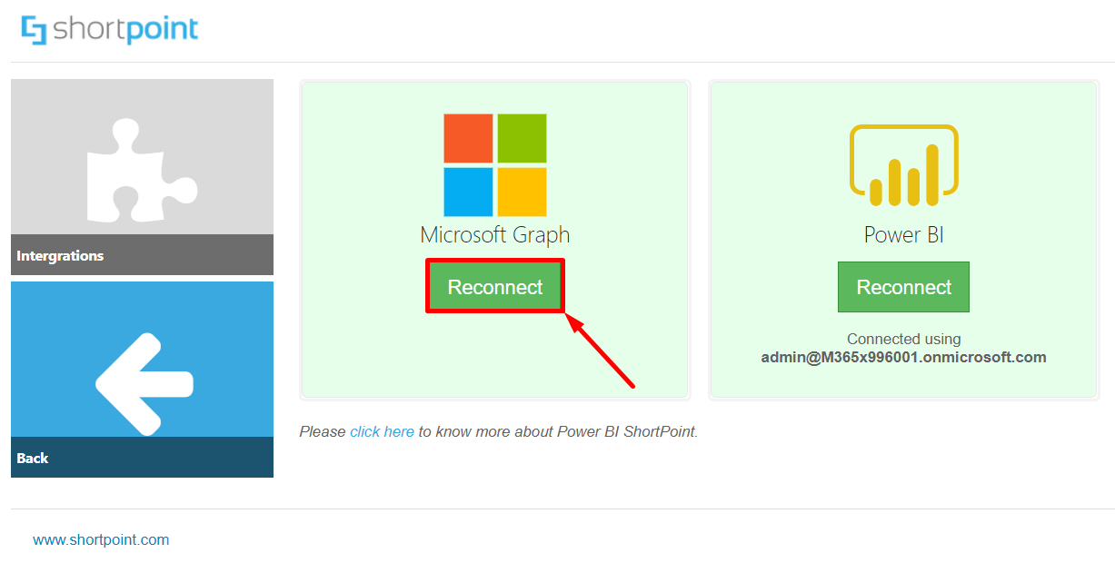 Reconnect button for Microsoft Graph