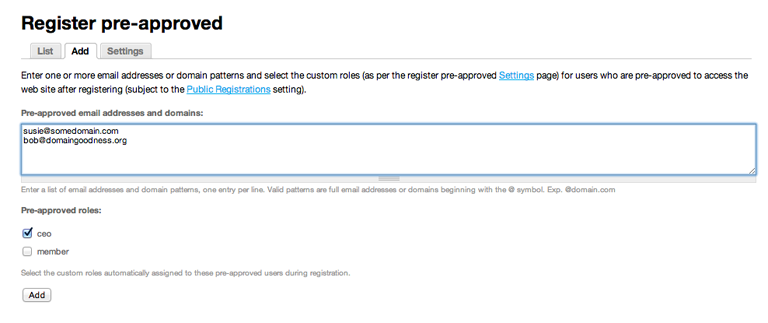 Adding domains and email addresses to Register preapproved