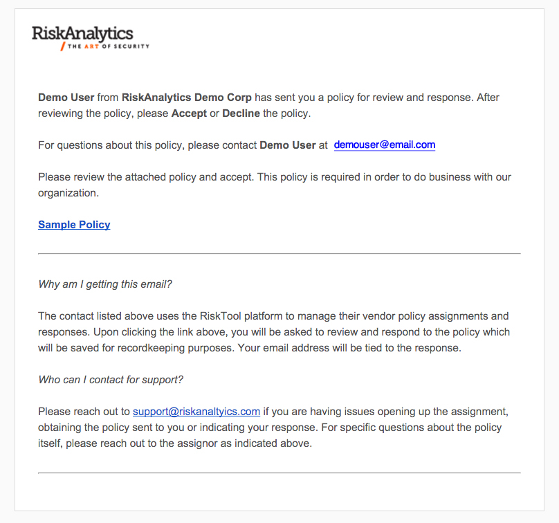 Introducing Vendor Policies (Released 3.3.16) : Riskanalytics Support