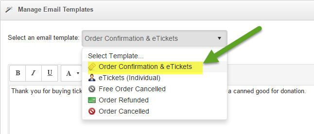 Modify Order Confirmation and eTickets Email : SimpleTix Knowledgeable