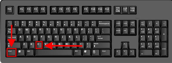 The Ctrl and C button highlighted on a keyboard
