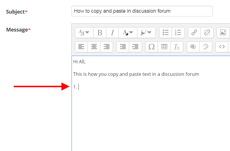 Click where you would like to paste your text