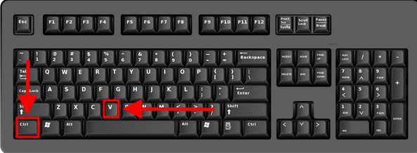 The Ctrl and V button highlighted on a keyboard