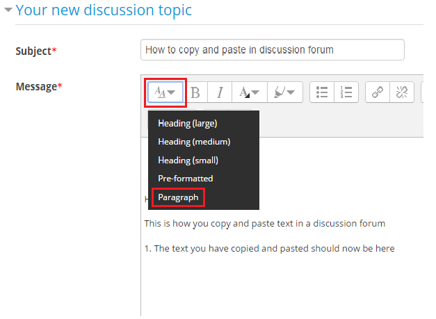 Paragraph button found in text editor