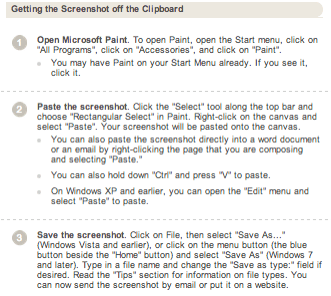 Instructions on retrieving screenshot