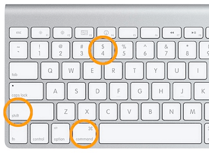 command shift and four on a mac keyboard