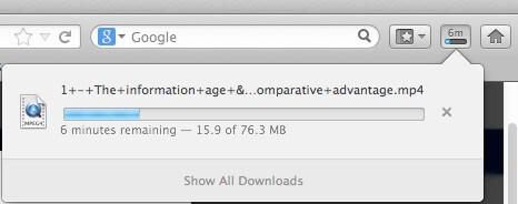 Download in progress on Mac Safari