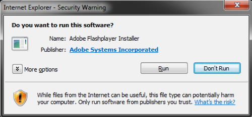 security warning dialog box