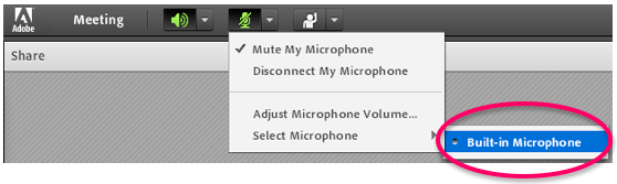 select microphone drop-down menu