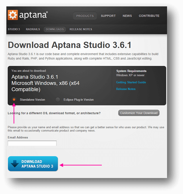Aptana troubleshooting guide : Technical Support