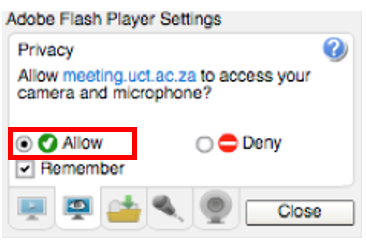 adobe flash player permissions dialog box