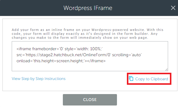 Adding Forms to WordPress with the iFrame Code : hatchbuck