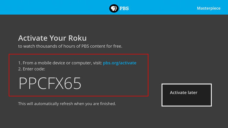 How do I activate the PBS App on Roku? : PBS Help