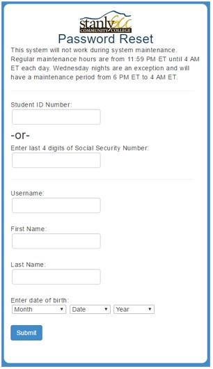 screenshot of password reset page