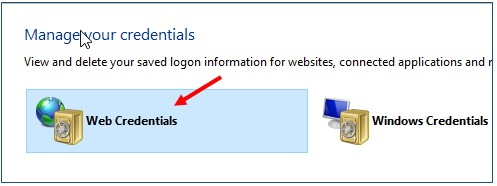 screenshot of Manage your credentials with Web credentials highlighted