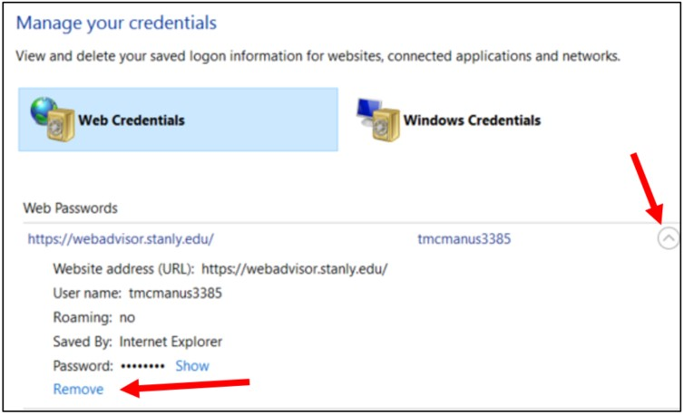 screenshot of Web credentials menu with Remove highlighted