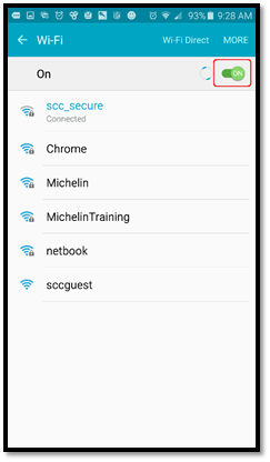 screenshot of Wi-Fi menu with the slider at the top right in the on position