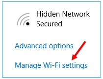 screenshot of Manage Wi-Fi settings