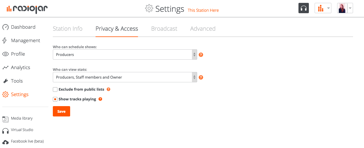 Privacy & Access - Settings