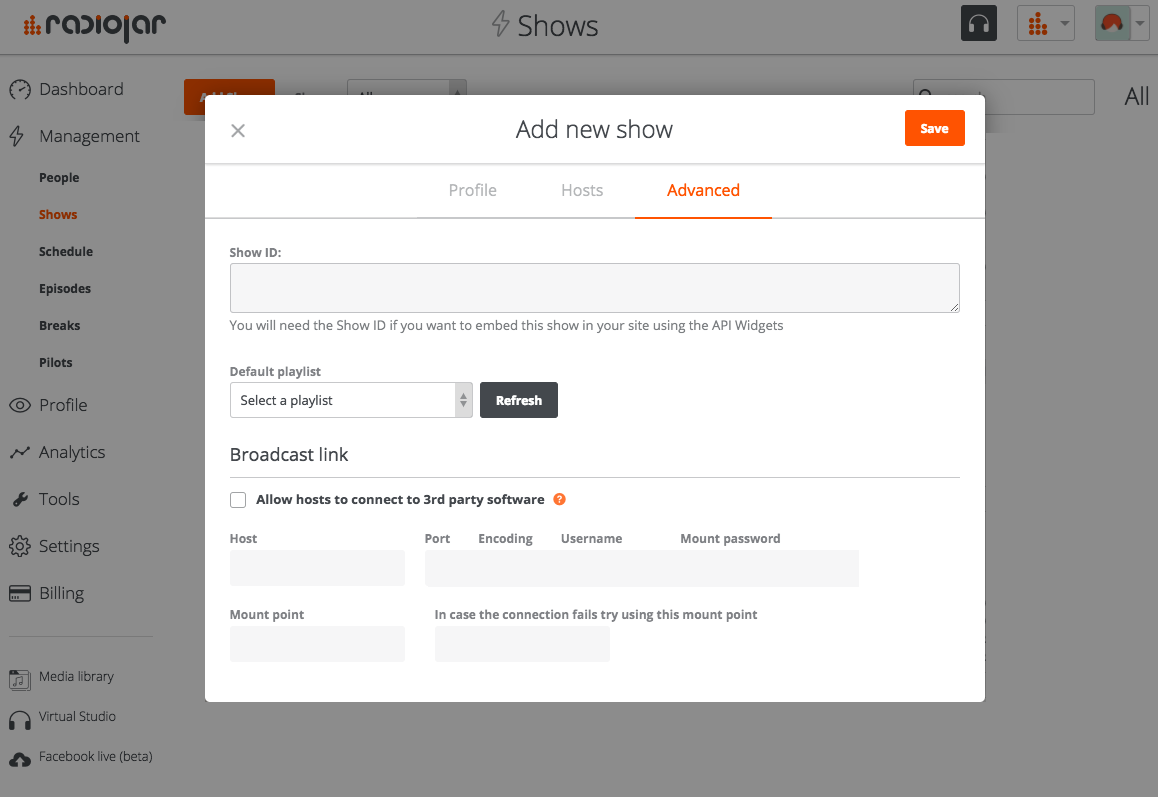 add a show - advanced