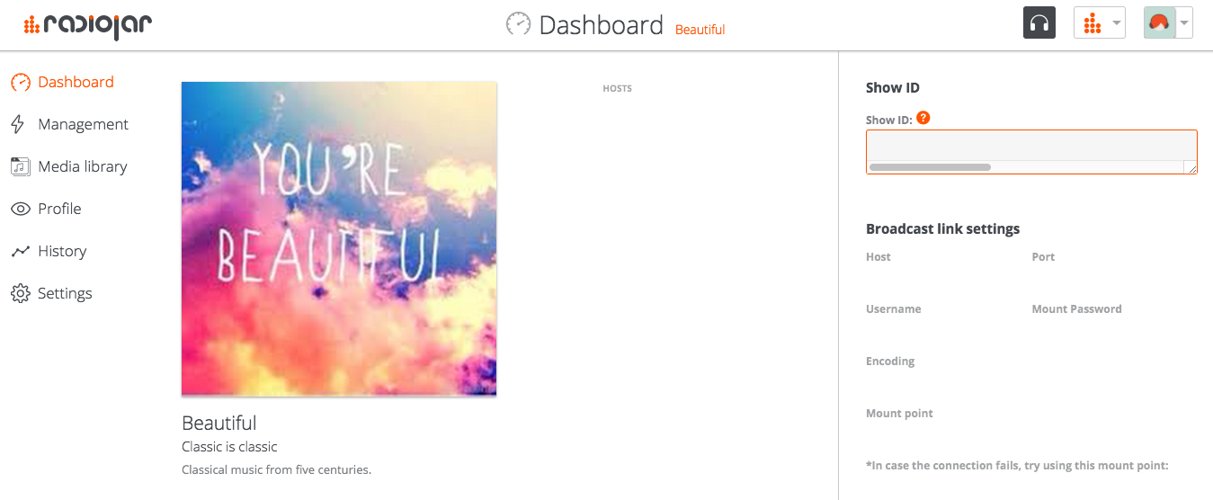 add a show - dashboard