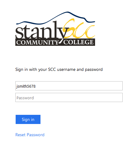 SCC login page for username and password