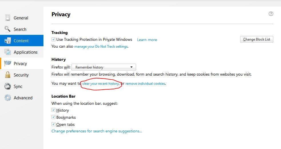 Mozilla Privacy Settings