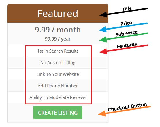 Brilliant Directories - Toolbox » Menu Manager » Pricing