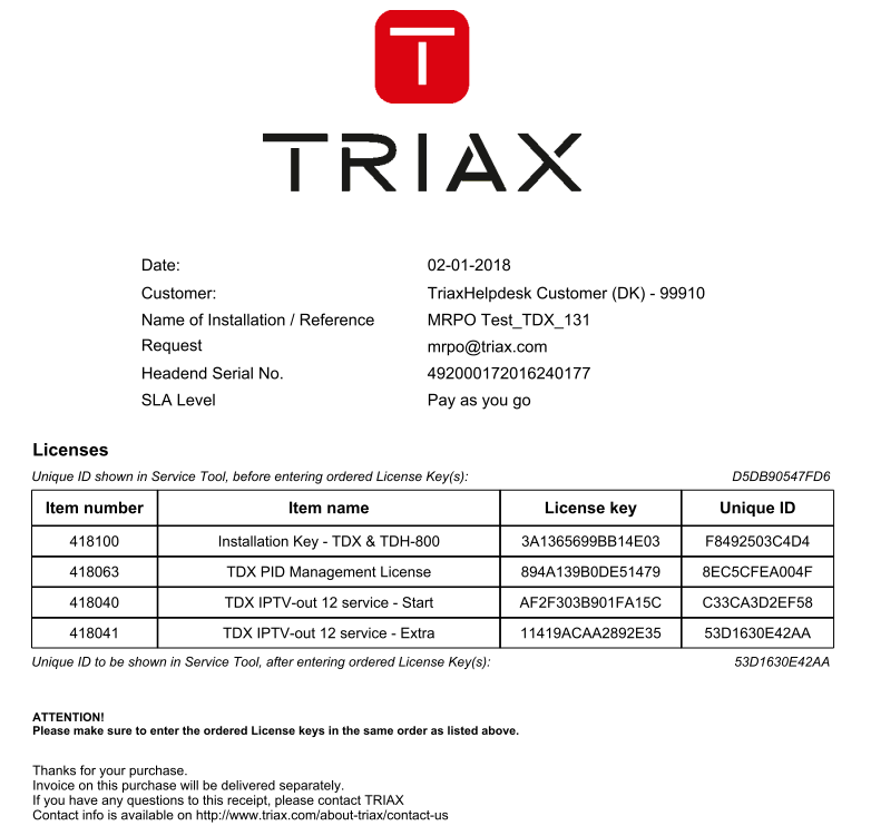 HowTo enter a license / activate the headend : Triax