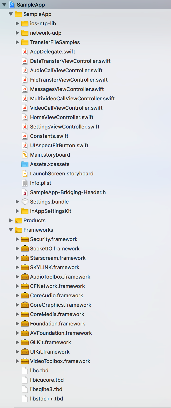 Manually installing the SkylinkSDK for iOS without Cocoapods