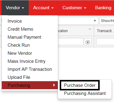 Purchase Order Form : Support Center