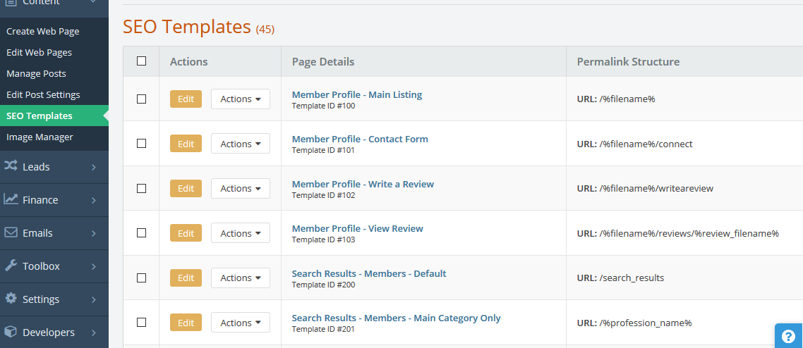 Brilliant Directories - SEO Levels (Template, Page, Member ...
