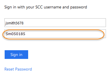 login with example student password