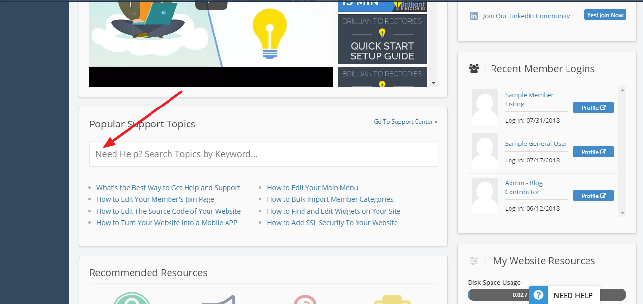 Brilliant Directories - Finding Help Resources in The Admin Area