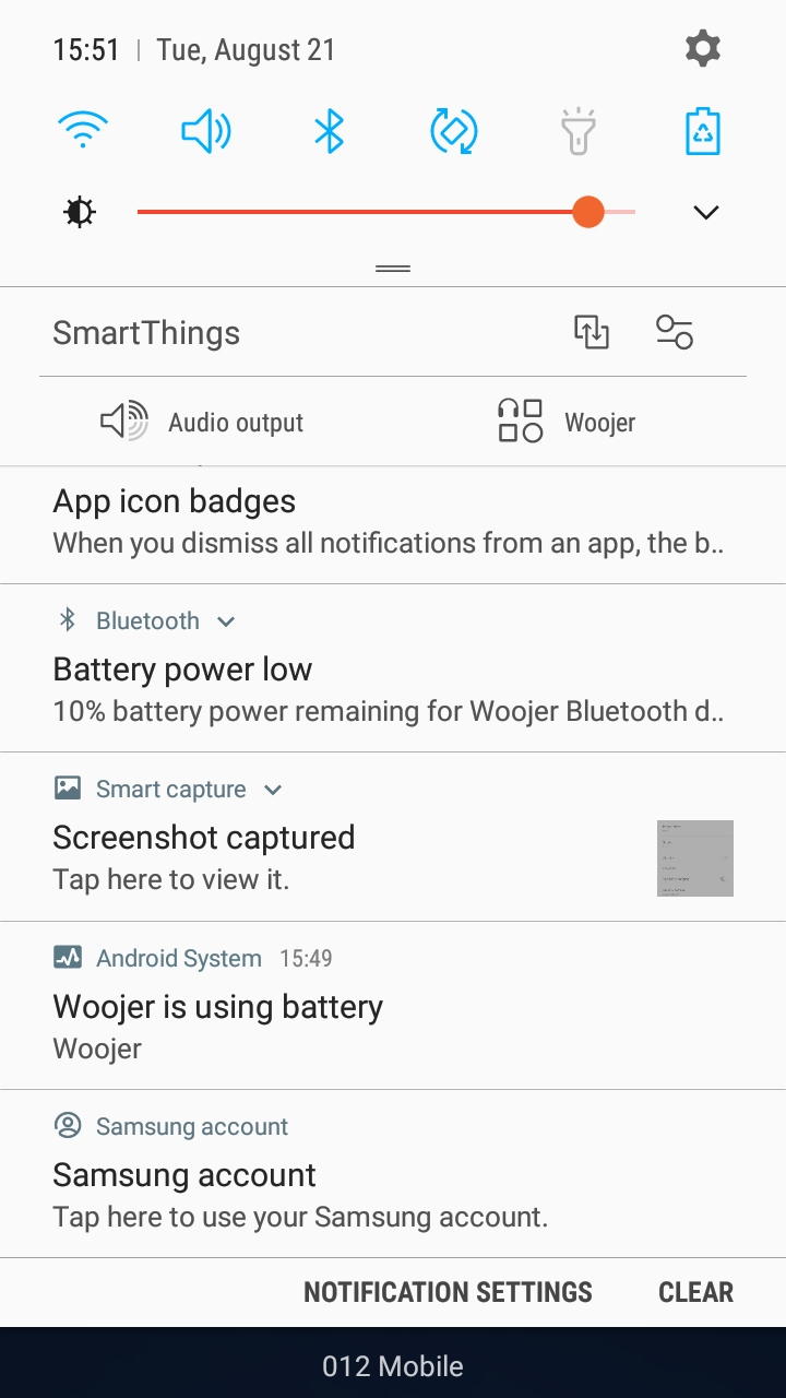 I get a '10% low battery' notification via my phone's Bluetooth