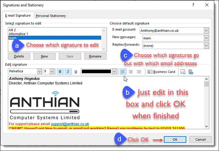 How to set or edit the email signature in Outlook : Anthian