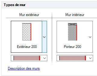 Texte de remplacement généré par une machine: Types  Mur extérieur  Extérieur 200  Descriotion des murs  Mur intérieur
