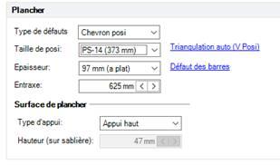 Texte de remplacement généré par une machine: Type de défauts  Taille de posi  Epaisseur  Chevron posi  PS_ 14 (373 mm)  97 mm (z plat)  rizmaulztion zuto (V Posn  Défaut des barres  Surface de  Appui haut  auteur (sur sablière)
