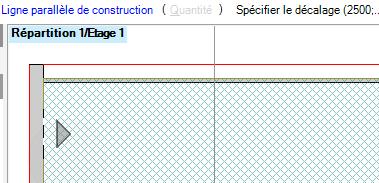 Texte de remplacement généré par une machine: Ligne parallèle de construction (  Répartition I  ) Spécifier le décalage (2500