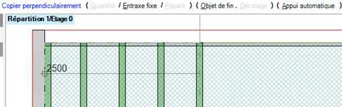 Texte de remplacement généré par une machine: Copier perpendiculairement (  Répartitim O  I Entraxe fixe  ) ( Objet de fin .  ) ( automatique