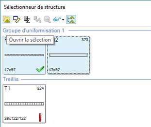 Texte de remplacement généré par une machine: Sélectionneur de structure  Groupe d'uniformisation  Ouvrir la sélection