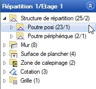 Texte de remplacement généré par une machine: Structure de répartition (25/2)  ) Poutre posa (23/1)  Poutre périphérique (2/1)  Mur(8)  ) Surface de plancher (4)  ) Zone de calepin age (2)  ) Cotation (3)  Grille(l)