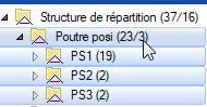 Texte de remplacement généré par une machine: Structure de répartition (37/16)  Poutre posi  PSI (19)  PS2(2)  PS3(2)