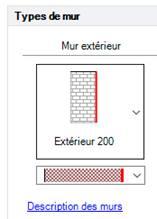 Texte de remplacement généré par une machine: Types  Mur extérieur  Extérieur 200  Descriotion des murs
