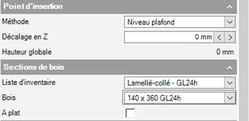 Texte de remplacement généré par une machine: Poi n t  Décalage en Z  Hauteur globale  Sections de  Liste d'inventaire  A plat  Niveau plafond  Lamellé-collé - GL24h  140x3BOGL24h