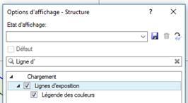 Texte de remplacement généré par une machine: Options d'affichage  Etat d'affichage  Ligne d •  Chargement  Structure  Lignes d 'exposition  Légende des couleurs
