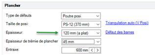 Texte de remplacement généré par une machine: Type de défauts  Taille de posi  Epaisseur  Epaisseur de trémie de plancher  Poutre posi  PS 12 (370 mm)  600 mm ( )  rizmaulztion zuto (V Posn  Défaut des barres