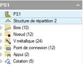 Texte de remplacement généré par une machine: PSI  A Structure de répartition 2  80is(10)  Noeud (12)  ) V métallique (24)  Point de connexion (12)  Appui (2)  ) Cotation (5)